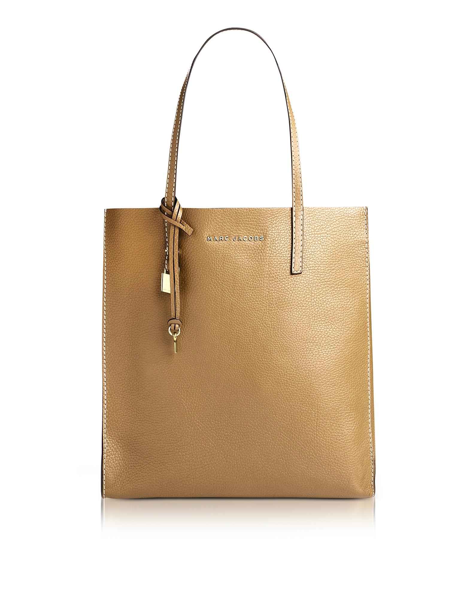 Marc Jacobs Handbags, Golden Beige Leather The Grind Shopper Tote Bag