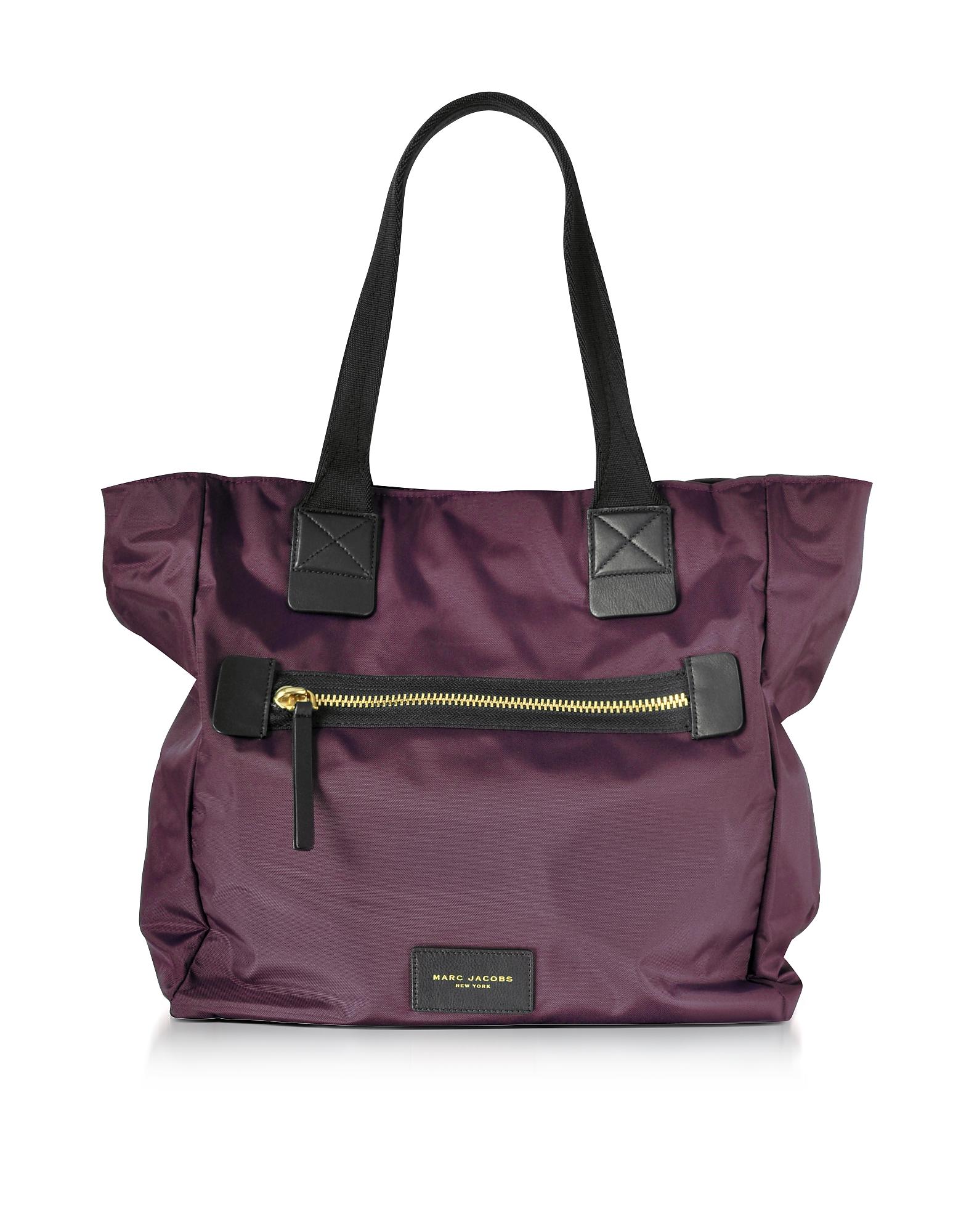 marc jacobs female marc jacobs designer handbags dark violet nylon biker ns tote bag