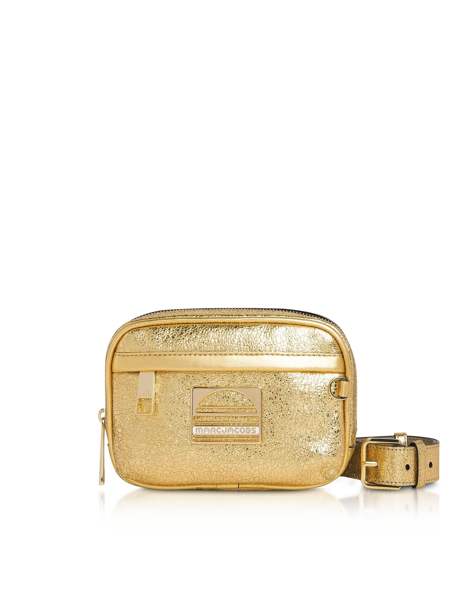 Gold Leather Sport Belt Bag