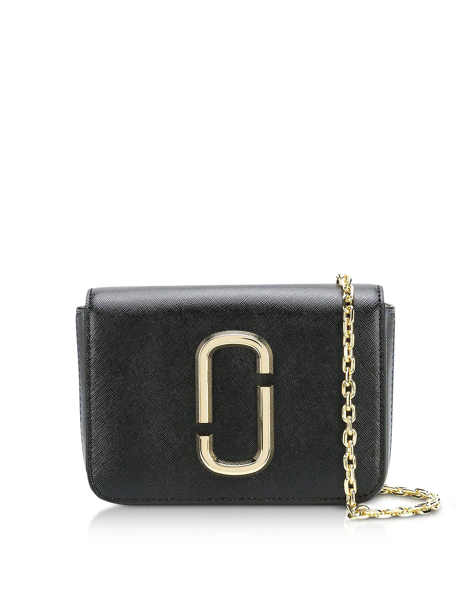 The Logo Strap Hip Shot Black Multi Saffiano Leather Belt bag