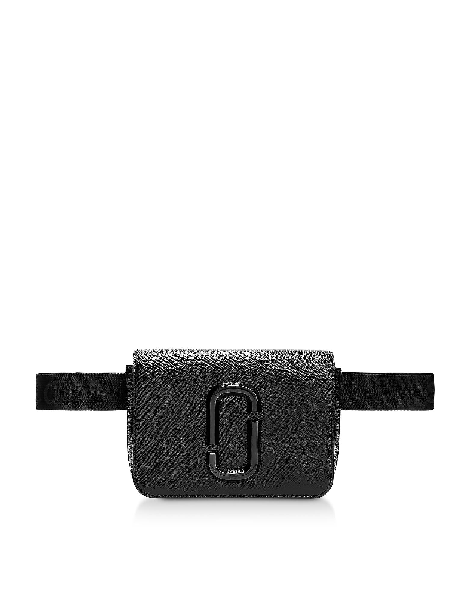 Marc Jacobs Designer Handbags, Black Leather Hip Shot Belt Bag