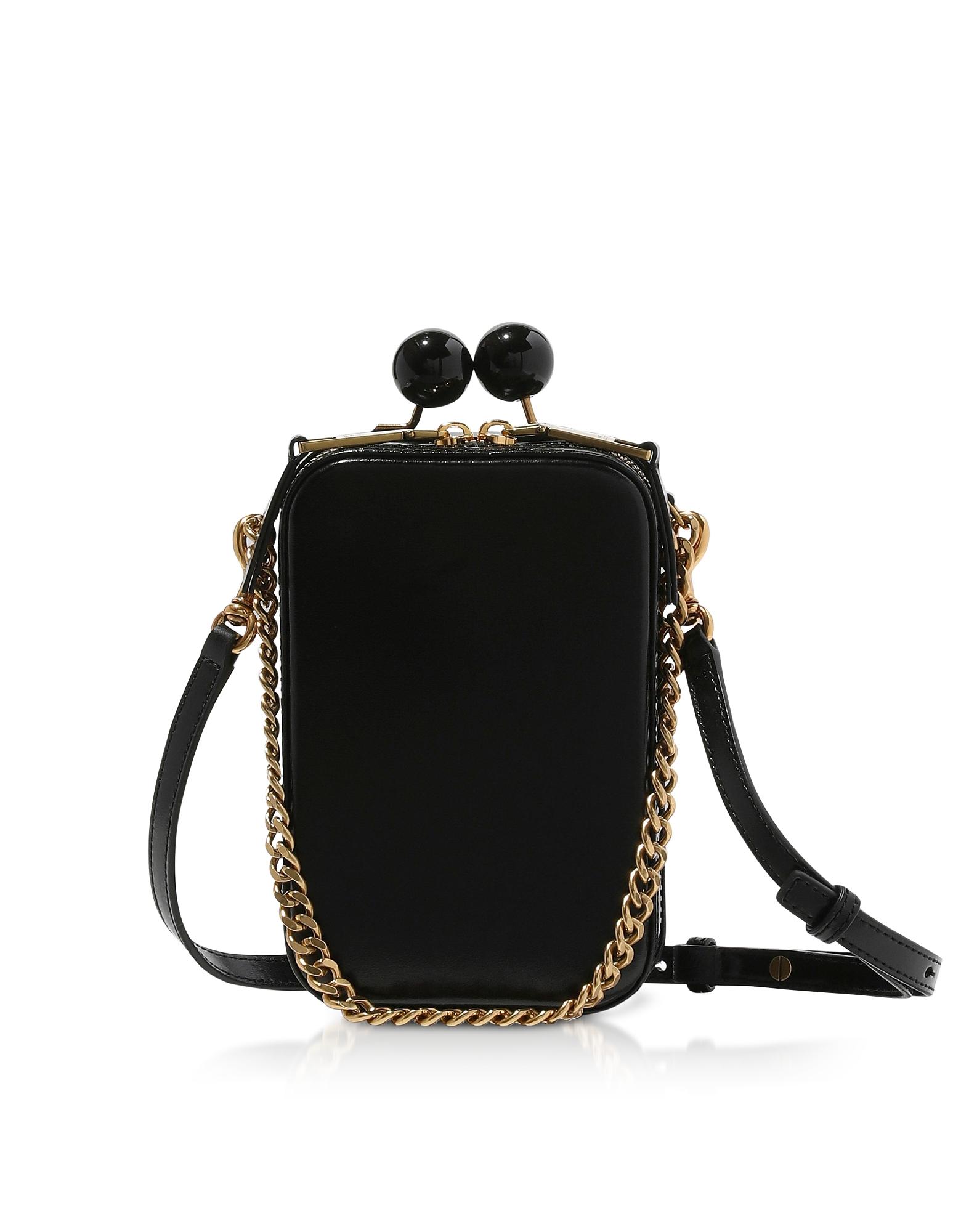 Marc Jacobs Designer Handbags, Black Leather The Vanity Clutch
