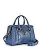 Small Fulton Denim Blue Leather Satchel Bag w/Shoulder Strap - Marc Jacobs