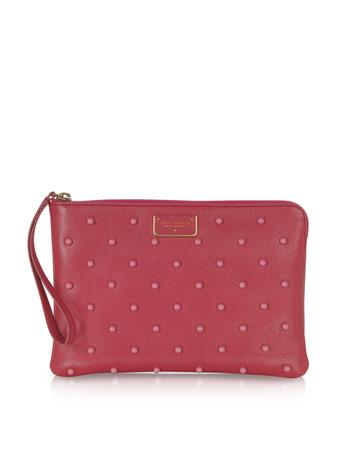 Flat Leather Pouch w/Polkadot Beads