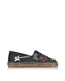 Sienna Black Cotton Espadrilles w/Multi Patches - Marc Jacobs