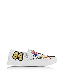 Mercer White Cotton Slip On Sneaker w/Multi Patches - Marc Jacobs