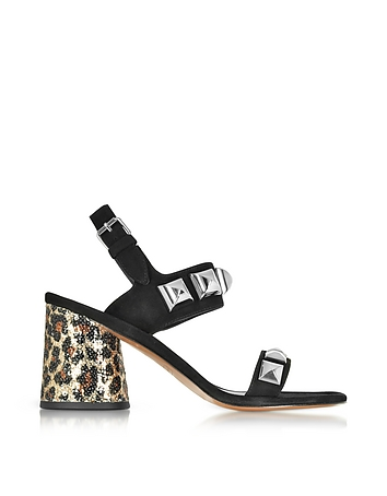 Emilie Black Leather Ankle Strap Sandal w/Studs & Animal Print Heel