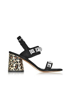 Emilie Black Leather Ankle Strap Sandal w/Studs & Animal Print Heel - Marc Jacobs