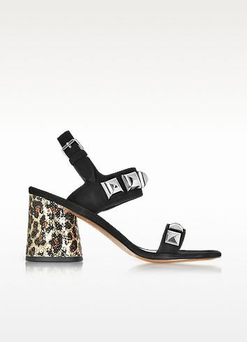 Emilie Black Leather Ankle Strap Sandal w/Studs & Animal Print Heel - Marc Jacobs
