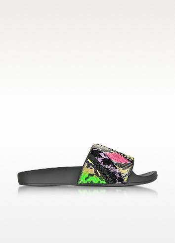 Cooper Punk Patchwork Neon & Multicolor Metallic Lurex Elastic Slide - Marc Jacobs