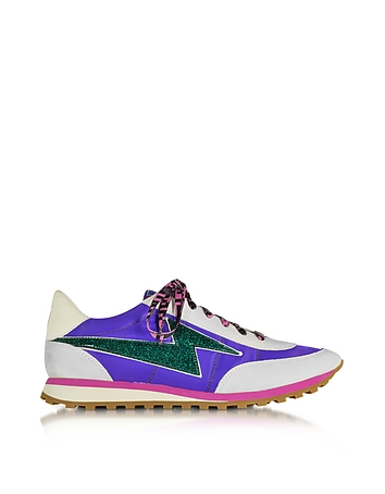 Astor Purple & Multicolor Nylon Sneaker w/Lightning Bolt Logo
