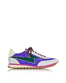 Astor Purple & Multicolor Nylon Sneaker w/Lightning Bolt Logo - Marc Jacobs