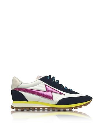Astor White & Multicolor Nylon Sneaker w/Lightning Bolt Logo