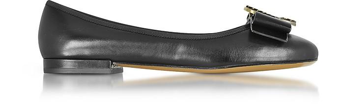 Interlock Black Leather Round Toe Ballerina Flat - Marc Jacobs