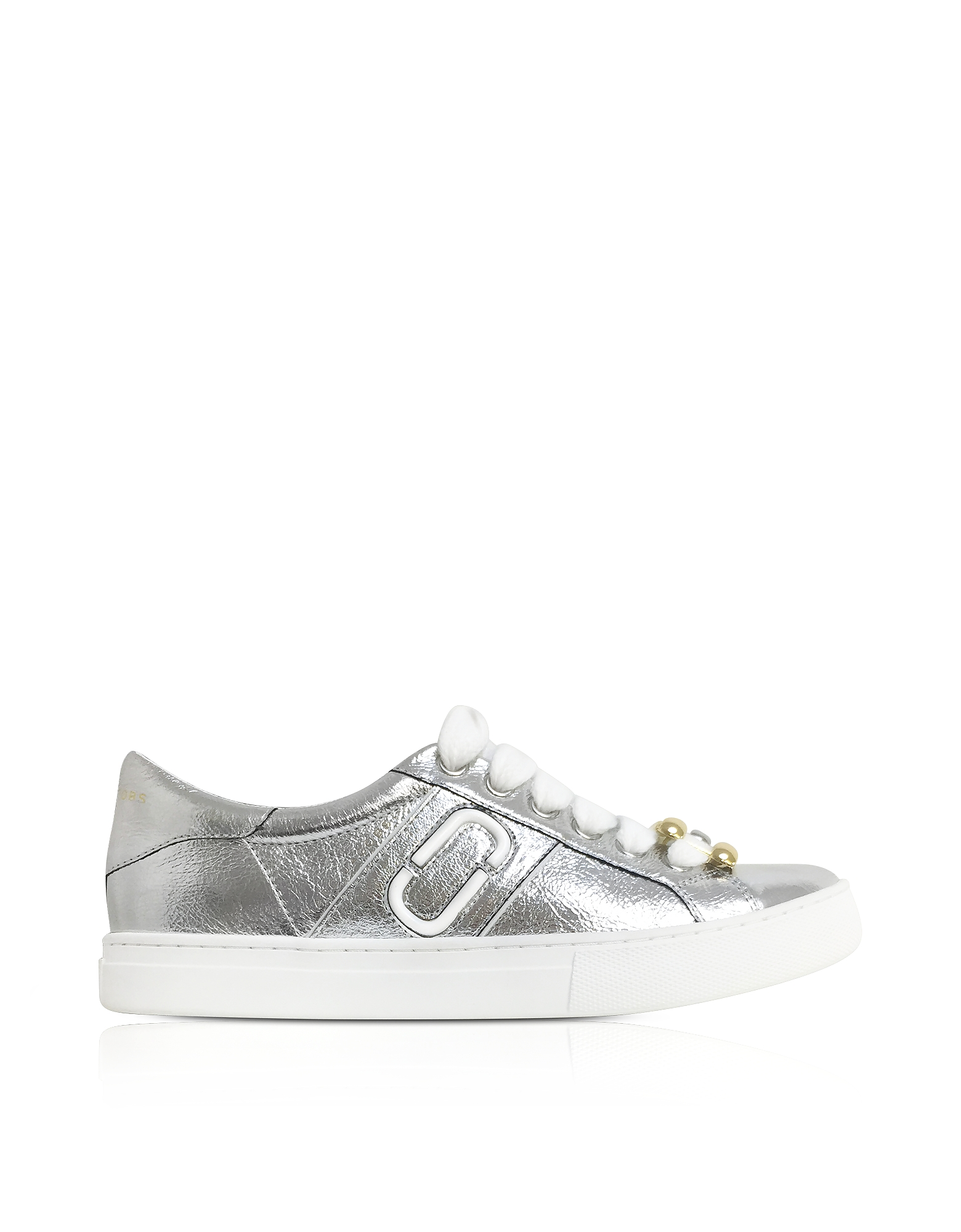 Marc Jacobs Silver Leather Empire Chain Link Low Top Sneakers