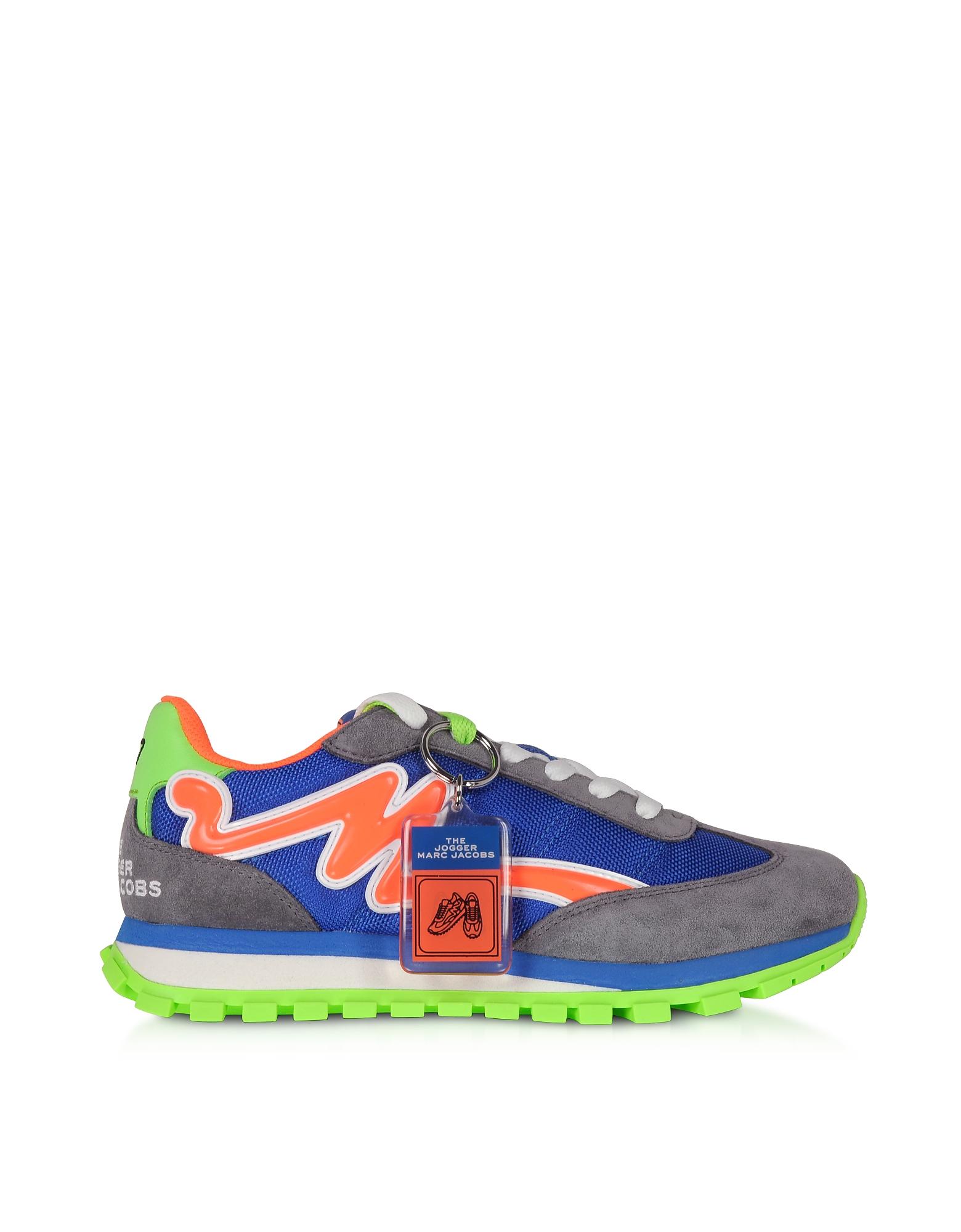 Marc Jacobs Designer Shoes, The Jogger Tangerine & Blue Nylon Women's Sneakers