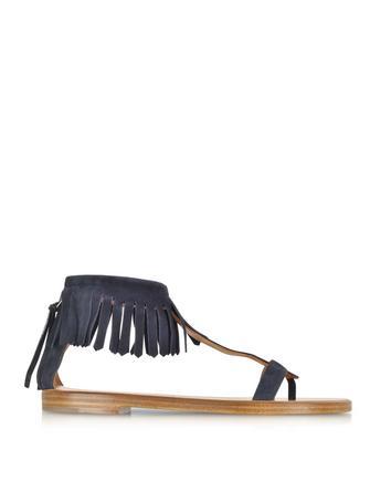 Dark Blue Suede Fringe Flat Sandal