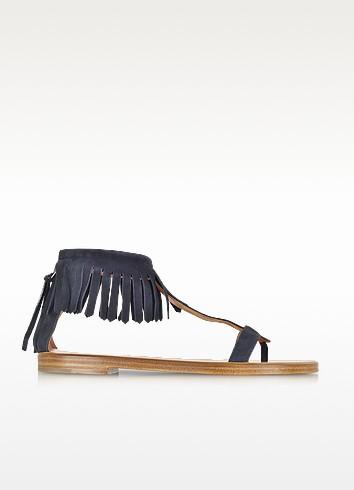 Dark Blue Suede Fringe Flat Sandal - Marc Jacobs