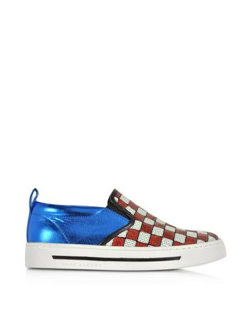 marc jacobs female 250960 mercer red white checkerboard sequins sneaker