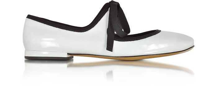 Lisa Mary Jane White Patent Leather Ballerina - Marc Jacobs