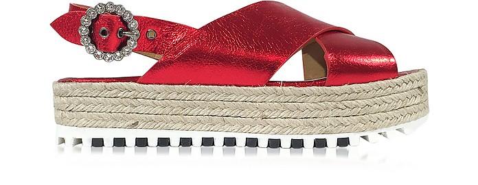 Beverley Red Metallic Leather Platform Sandal - Marc Jacobs