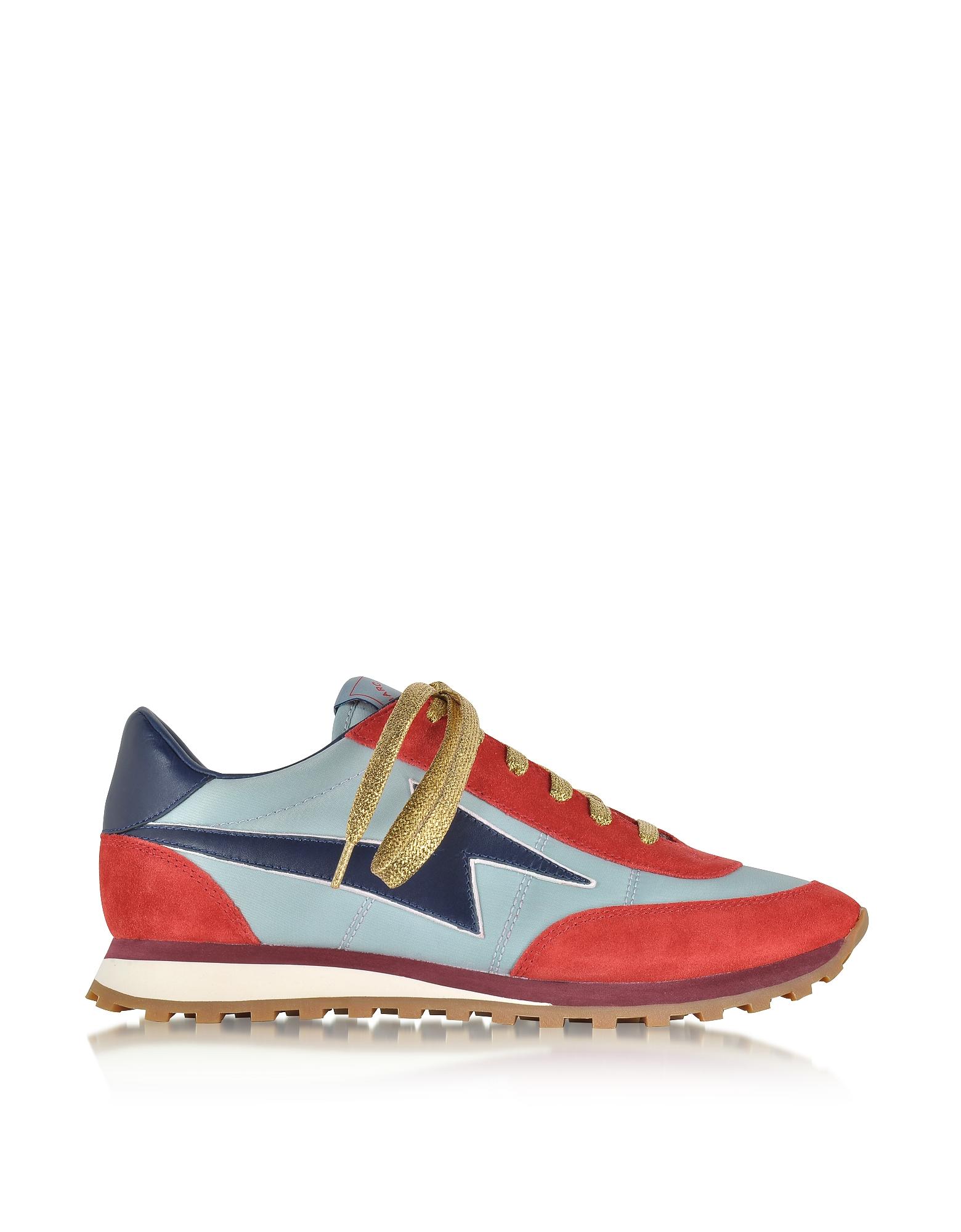 Бледно-синие и Красные Кроссовки из Нейлона с Логотипом
