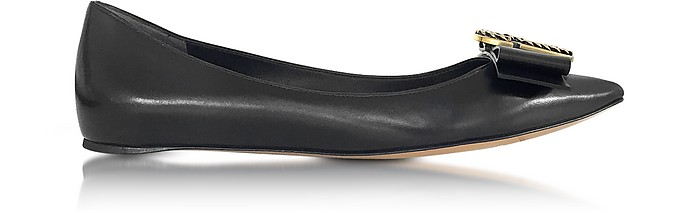Black Leather Interlock Pointy Toe Ballerina - Marc Jacobs