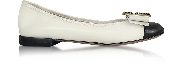 Ivory and Black Leather Interlock Round Toe Ballerina - Marc Jacobs