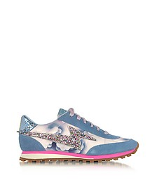 Sneaker Astor de Ante, Nylon Azul y Glitter - Marc Jacobs