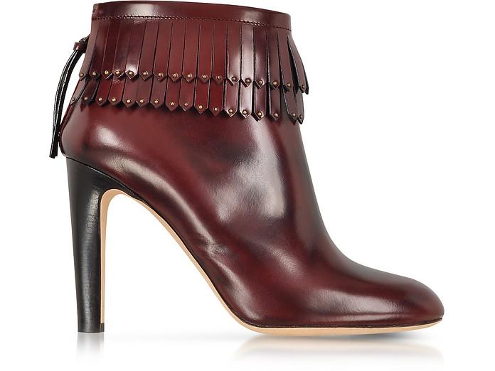 酒红色皮革流苏靴子 - Marc Jacobs  雅克博