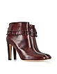 Burgundy Leather Fringed Boot - Marc Jacobs