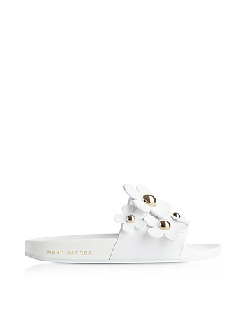 Marc Jacobs - White Rubber Daisy Aqua Slides