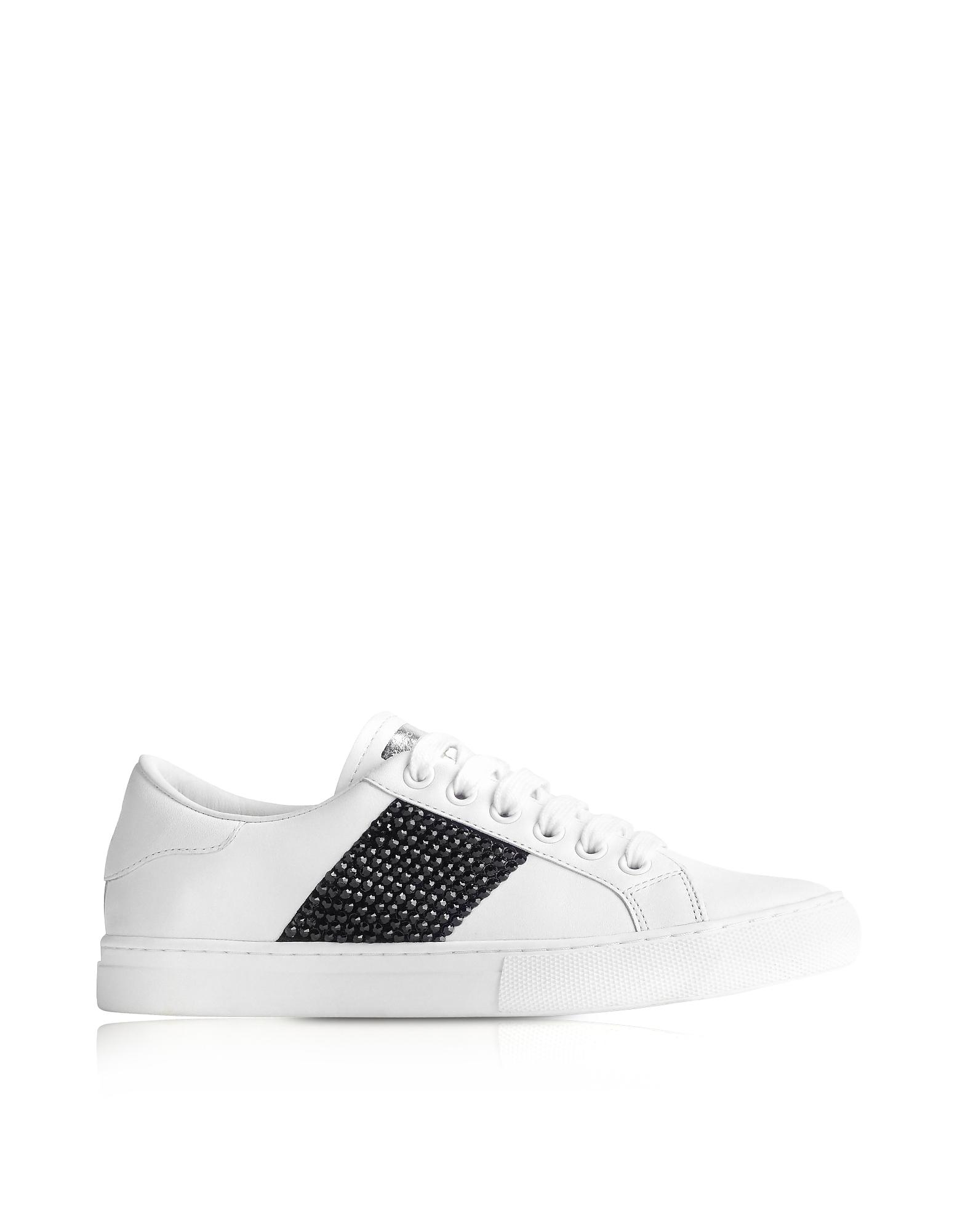 Фото Empire - Белый Кожаные Кроссовки с Черными Кристаллами. Купить с доставкой