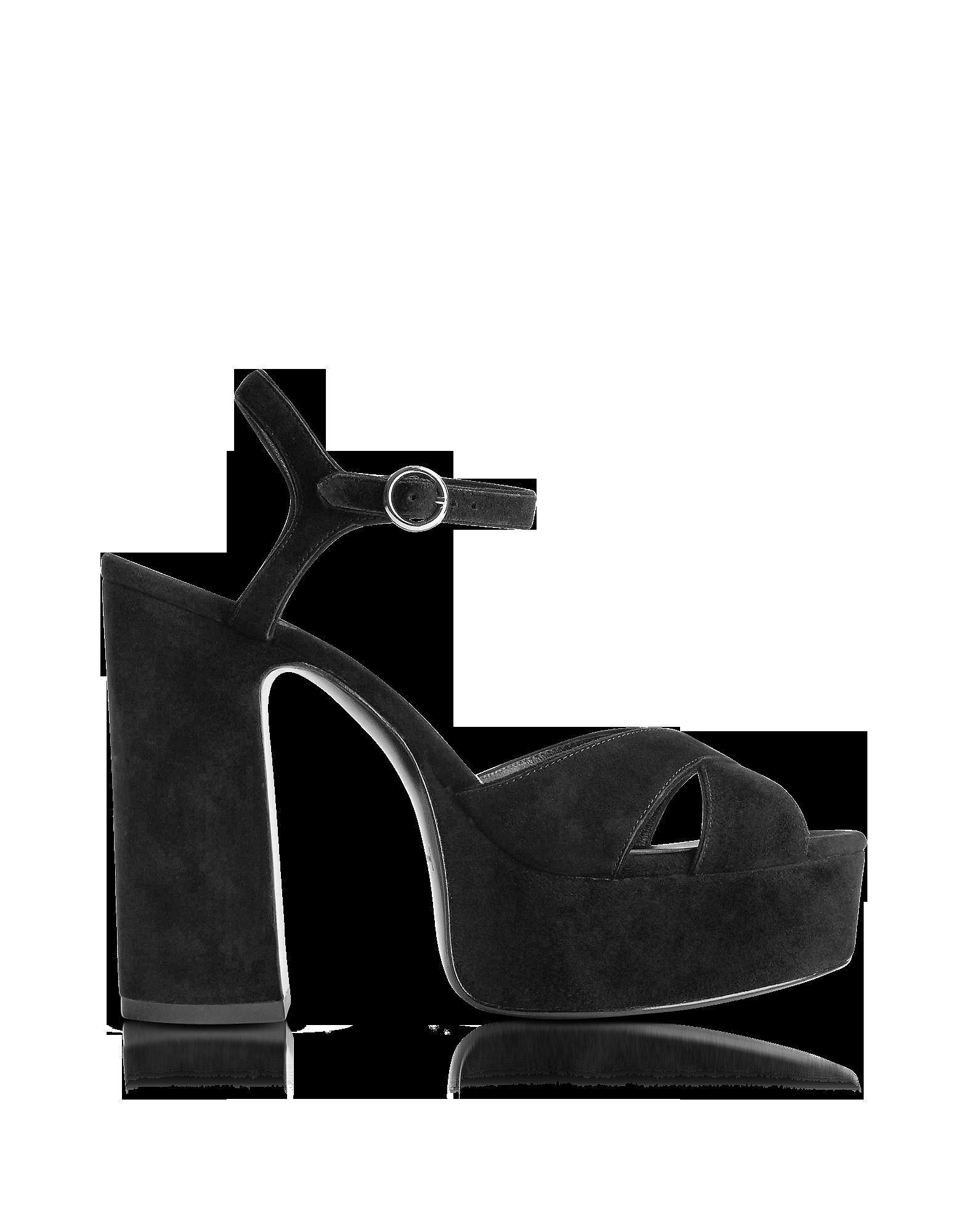 Фото Черные Замшевые Сандалии на Высокой Платформе. Купить с доставкой