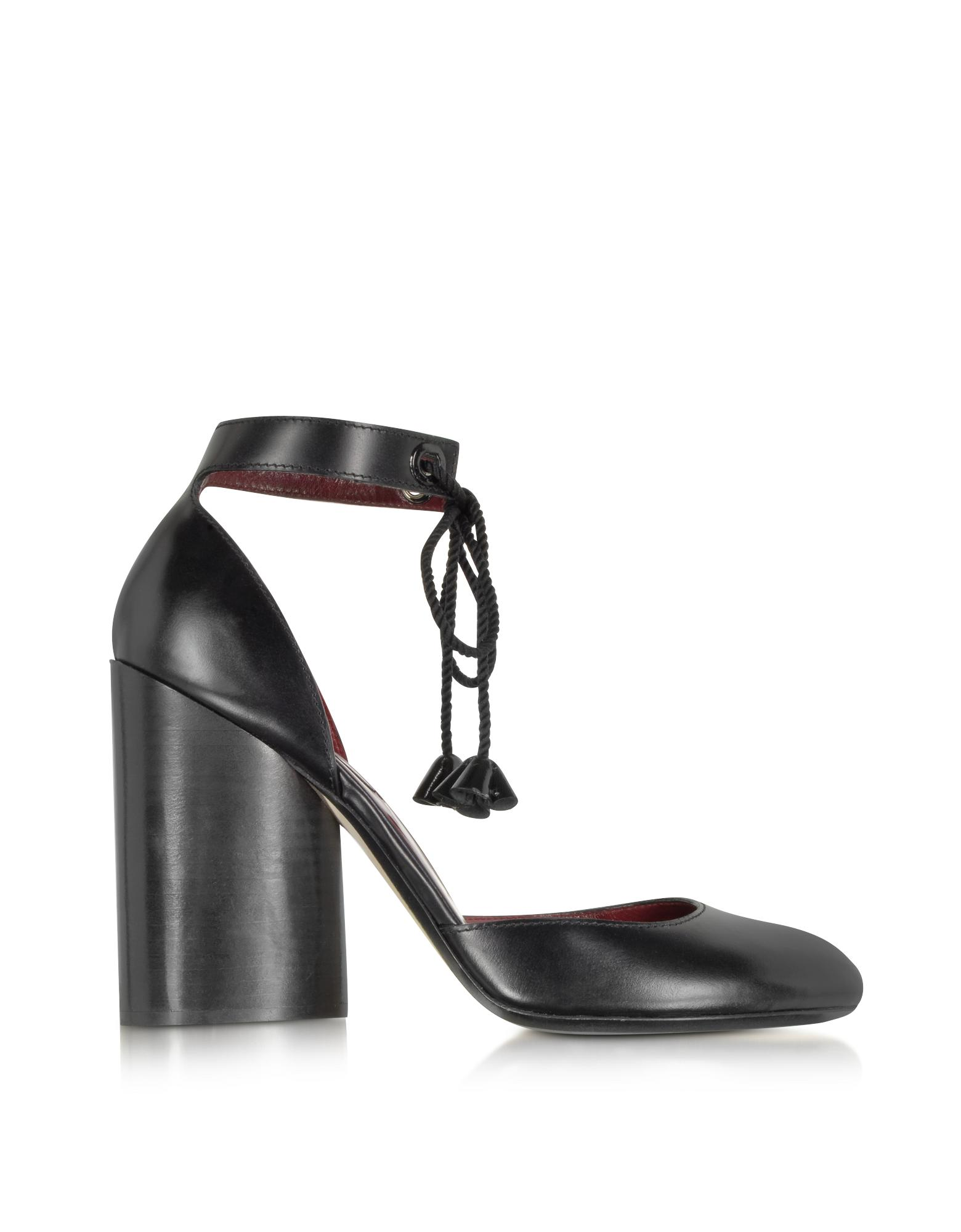 Black Leather Ankle Strap Pump - Marc Jacobs