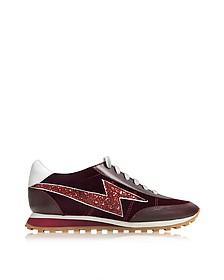 Jogger Astro Sneaker in Pelle e Velluto Bordeaux con Glitter - Marc Jacobs