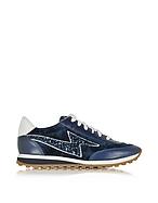 Marc Jacobs Jogger Astor Sneaker aus Leder und Samt in navyblau mit Glitzer