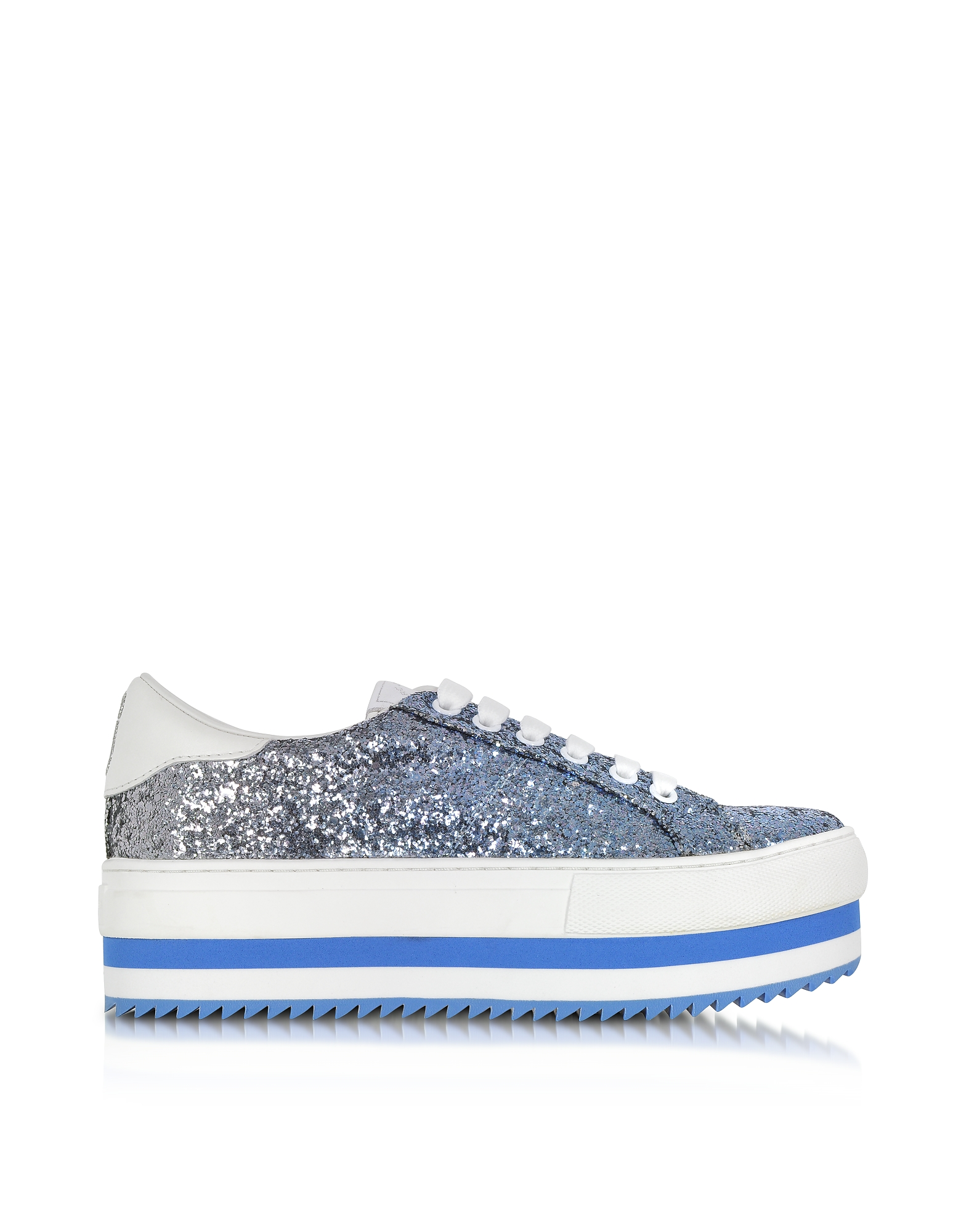 Marc Jacobs Shoes, Blue Glitter Grand Flatform Lace Up Sneakers