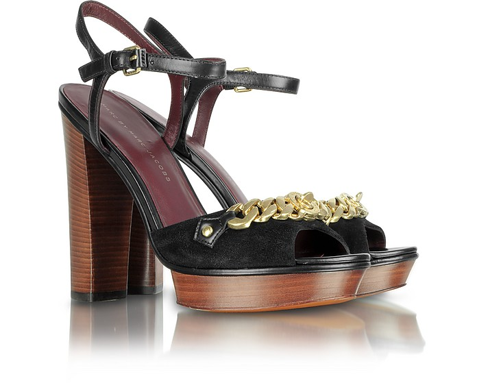 Gold Chain and Black Suede Sandal - Marc by Marc Jacobs
