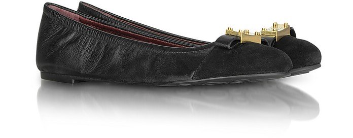 Leather and Suede Tuxedo Logo Ballerina Flat - Marc by Marc Jacobs