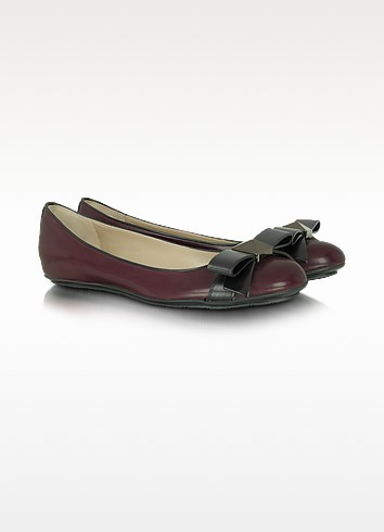 Sandy - Merlot Leather Ballerina Flat - Marc Jacobs