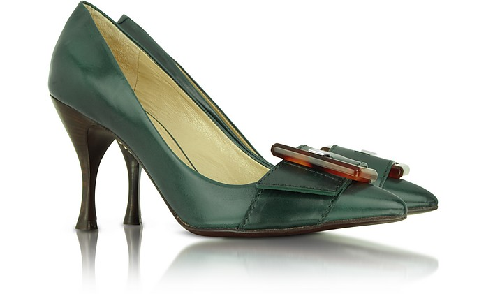 Ficus Green Leather Buckle Pump - Marc Jacobs