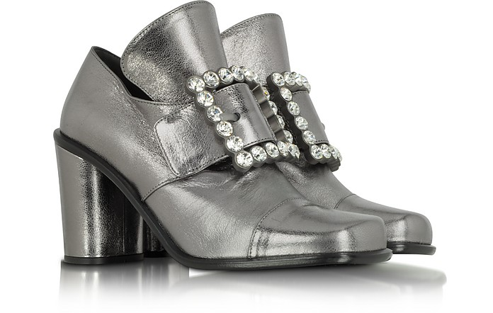 Virginia - Silver Lame Leather and Crystal Buckle Pump  - Marc Jacobs