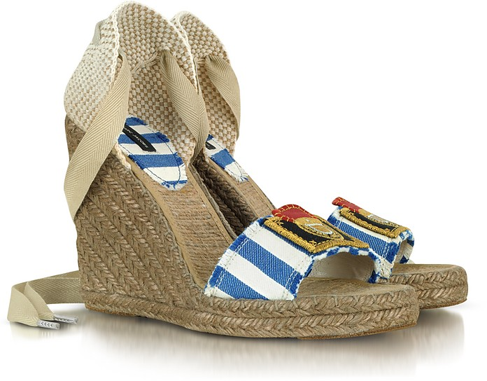 Striped Canvas Espadrille Wedge Sandal - Marc Jacobs