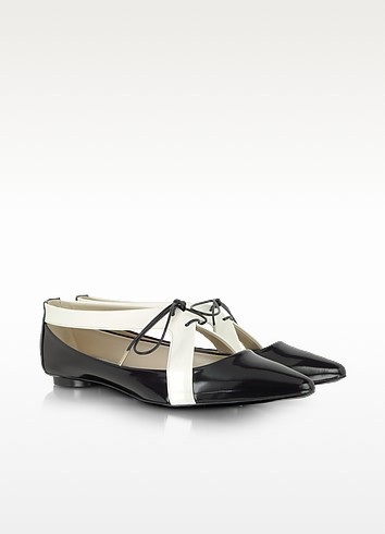 Black and White Patent Leather Flat - Marc Jacobs