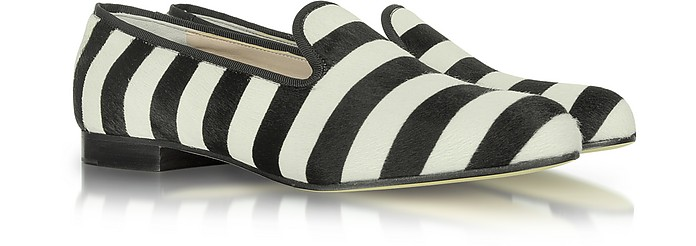 Calf Hair and Gross Grain Stripe Loafer - Marc Jacobs