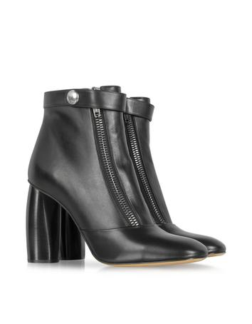 Black Double-Zip Leather Ankle Boot
