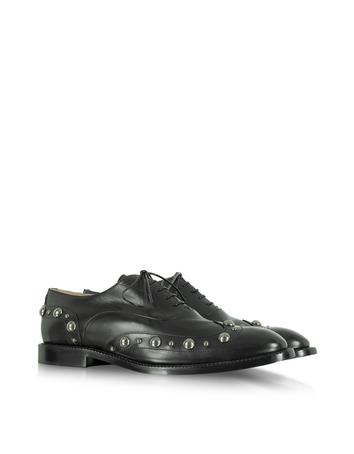 Studded Black Leather Oxford Shoe