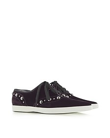 Purple Pointed Toe Lace Up Velvet Sneaker - Marc Jacobs