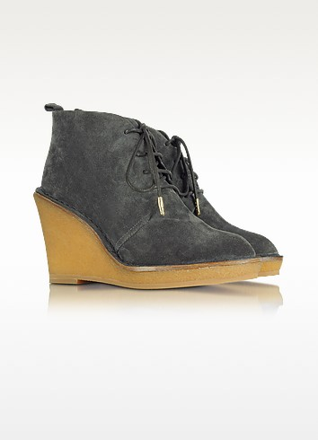 Slate Grey Lace Up Wedge Bootie - Marc by Marc Jacobs